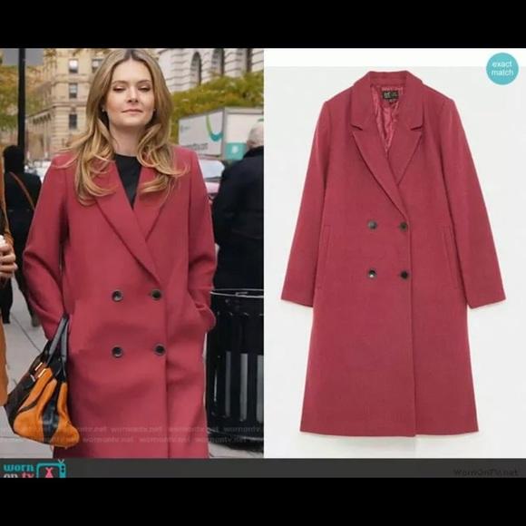 Zara Jackets & Blazers - ZARA  PINK MARL LONG  WOOL COAT PINK MARL